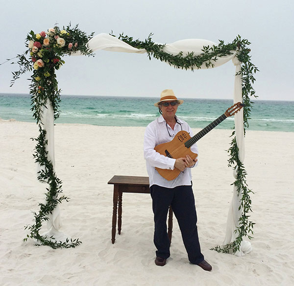 Art Carnrick on Pensacola Beach with Classical Guitar